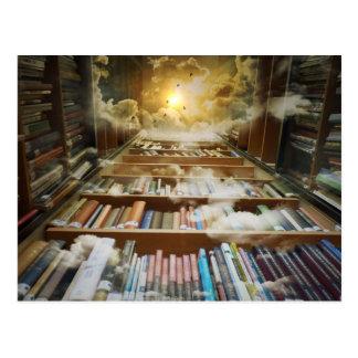 Biblioteca no céu cartão postal