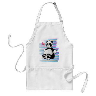 Bicho de pelúcia do urso de panda dos desenhos avental