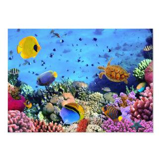 Bichos coloridos do recife de corais convite 12.7 x 17.78cm