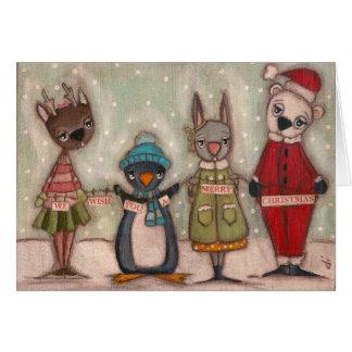 Bichos do Natal - cartão de Natal