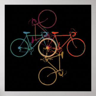 Bicicleta-arte/colorful_bikes no preto pôster