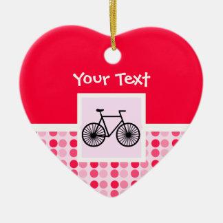 Bicicleta bonito ornamento de cerâmica coração