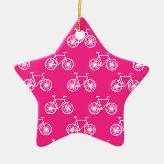 Bicicleta branca, teste padrão de ciclagem; Rosa Enfeites Para Arvore De Natal