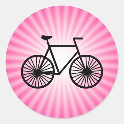 Bicicleta cor-de-rosa adesivos em formato redondos