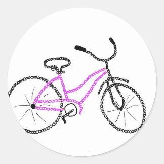 Bicicleta cor-de-rosa adesivos redondos