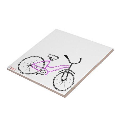 Bicicleta cor-de-rosa azulejo de cerâmica