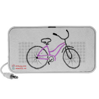 Bicicleta cor-de-rosa caixinha de som de viagem