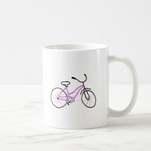 Bicicleta cor-de-rosa caneca