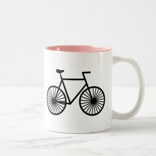 Bicicleta cor-de-rosa canecas