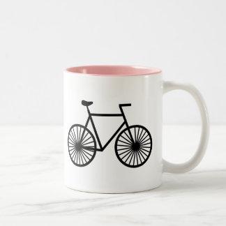 Bicicleta cor-de-rosa caneca dois tons