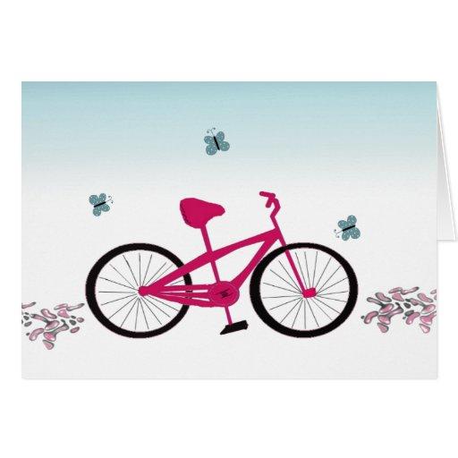Bicicleta cor-de-rosa cartões
