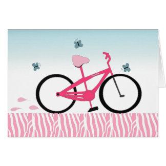 Bicicleta cor-de-rosa cartão de nota