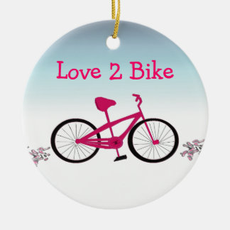 Bicicleta cor-de-rosa com provérbio bonito ornamento de cerâmica redondo