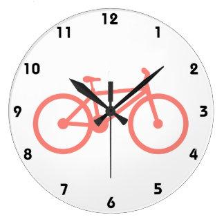 Bicicleta cor-de-rosa coral relógios de pendurar