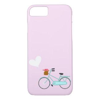 Bicicleta cor-de-rosa de turquesa com coração da capa iPhone 7