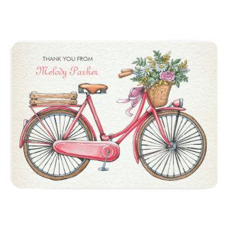 Bicicleta cor-de-rosa Notecard personalizado Convite 12.7 X 17.78cm