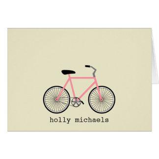 Bicicleta cor-de-rosa Notecards personalizado Cartão