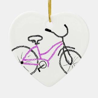 Bicicleta cor-de-rosa ornamento de cerâmica coração