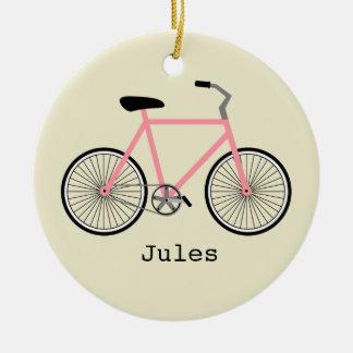 Bicicleta cor-de-rosa ornamento personalizado