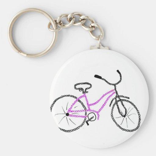 Bicicleta cor-de-rosa chaveiro