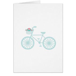 Bicicleta da cerceta do vintage com flores cartão comemorativo