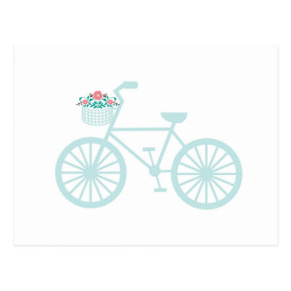 Bicicleta da cerceta do vintage com flores cartão postal