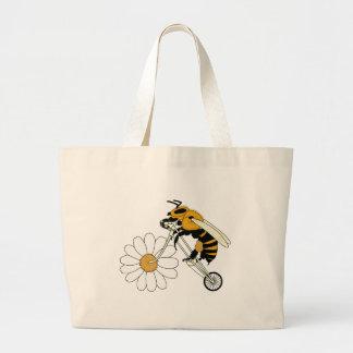 Bicicleta da equitação da abelha com roda da flor bolsa tote grande