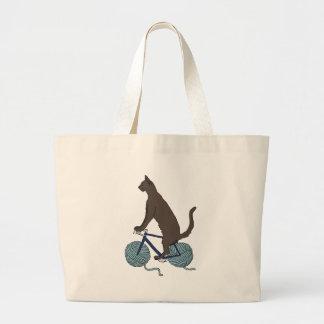 Bicicleta da equitação do gato com as rodas da bolsa tote grande