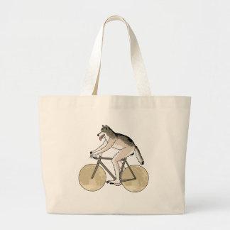 Bicicleta da equitação do homem-lobo com rodas da bolsa tote grande