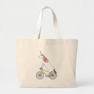 Bicicleta da equitação do unicórnio com as rodas bolsa tote grande
