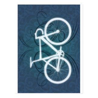 Bicicleta da trilha - estilo azul do tatuagem cartão postal