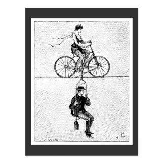 bicicleta do Alto-fio - ato do ciclismo do circo Cartão Postal