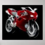 Bicicleta do esporte que compete a motocicleta posters