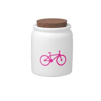 Bicicleta do rosa quente bicicleta jarros de doces