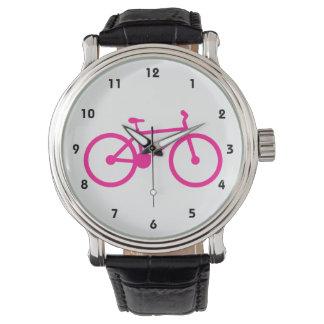 Bicicleta do rosa quente; bicicleta relogios