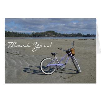 Bicicleta nos cartões de agradecimentos da praia