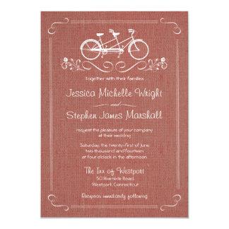 Bicicleta para o casamento cor-de-rosa empoeirado convite 12.7 x 17.78cm