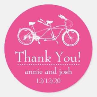 Bicicleta para o obrigado dois você etiquetas adesivos em formato redondos