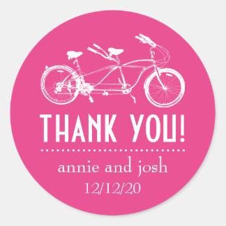 Bicicleta para o obrigado dois você etiquetas adesivos redondos
