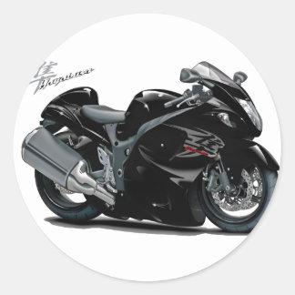 Bicicleta preta de Hayabusa Adesivo Em Formato Redondo