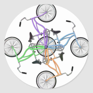 Bicicletas! 4 bicicletas coloridas diferentes adesivo em formato redondo