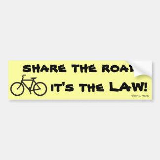 Bicycle, compartilhe da estrada, ele é a LEI! Adesivo Para Carro