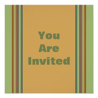 Biege verde simples convite quadrado 13.35 x 13.35cm
