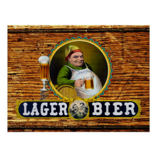 Bier 1879 da cerveja pilsen do vintage na madeira  poster