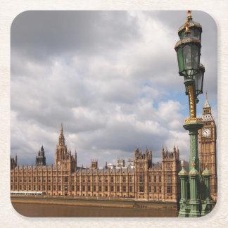 Big Ben e casas do parlamento na porta copos de Porta-copo De Papel Quadrado