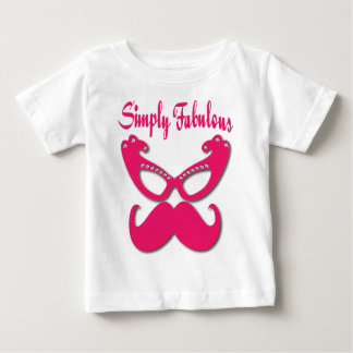 Bigode cor-de-rosa e vidros cor-de-rosa camiseta para bebê