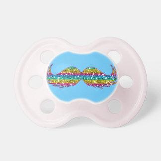 Bigode do brilho do arco-íris chupeta