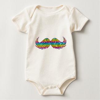 Bigode do brilho do arco-íris macacãozinho para bebês