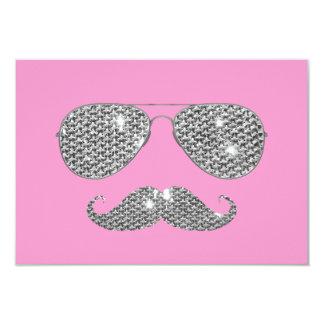 Bigode engraçado do diamante com vidros convite personalizado