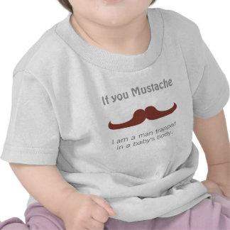 Bigode lunático para bebés t-shirts